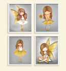 Posters Girls Room Nursery Prints Decor Fairy Angel Ballerina Art Grey Yellow