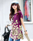 Summer Lady Women Shirt Casual Floral short sleeve Loose Blouse Tops Mini Dress