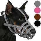 Leather Dog Muzzle Doberman German Shepherd Secure Basket Medium Large Pink Gray