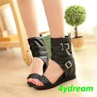 Women Sandals Peep Toe Wedge Heel Gladiator Pu Leather Casaul Dress Shoes White