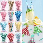 25 100 Stripe Dot Paper Drinking Straw Rainbow Mixed Color Wedding Party Favours