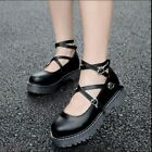 Women's Platform Wedges Vintga Buckle Oxfords Girls Goth Cowboy Mary Janes Shoes