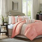 ELEGANT LOVELY CORAL TAUPE COMFORTER 7 PC SET CAL KING QUEEN BEDDING