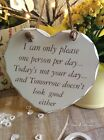 Heart Shabby Chic Distressed Humorous I Can Only Please Wooden Sign Plaque gift
