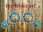 light blue 4 pc Bridle concho set Bling Barrel Racer Racing round berry Concho