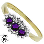 BJC® 9ct Yellow gold Amethyst & Diamond Triple Cluster engagement ring R246