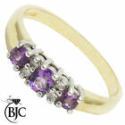 BJC® 9ct Yellow gold Amethyst & Diamond Half Eternity engagement ring R259