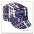 NEW  *D&Y* STYLISH TARTAN PLAID MILITARY CADET HAT W/BUTTON - PURPLE