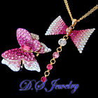 Gradient Pink Colour Crystal Rhinestones 3D Butterfly Ring & Necklace Set
