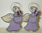 Rhinestone Flower Pale Purple  New Stained Glass Gardening Angel Handmade in USA