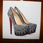 Sparkle Shoes Black High heels glitter & Crystals canvas wall Picture. Any Size!