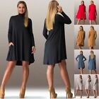 Women Loose Long Sleeve Turtleneck Asymmetric Party Tunic Solid Tops Mini Dress