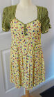 HENRY HOLLAND ~ 1940's STYLE  YELLOW FLORAL & CHECK DRESS ~ SWEETHEART NECK ~ 12