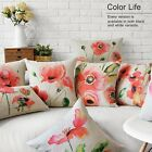Colorful Lovely Flowers Pillow Case Home Decor Cushion Cover Square Oblong Linen