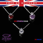 Red Heart Pendant Crystal Silver & Purple Fashionable Necklace Jewellery Elegant