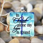 """IN CHRIST ALONE"" INSPIRATIONAL JESUS CHRISTIAN FAITH GLASS PENDANT NECKLACE"