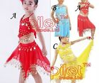 Children Girls Kids Belly Dance Costume Chiffon Top Pants Dancewear Bollywood