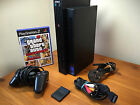 Playstation 2 console bundle-black-1 controller-card 8mb-tv and power cable-game
