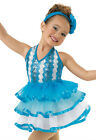 NEW 'Ragtime' Blue White Tap Jazz Ice Skating Dance Competition Costume Dress