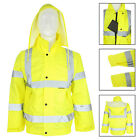 "Mens Waterproof Hi Vis Viz Safety Hooded Jacket Size 38-40"" Rain Work Wear Coat"