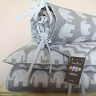 100% COTTON Cot Bed Duvet Cover Set Girls Boys Grey My Little Elephant  nursery
