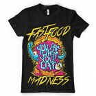 YOU ARE WHAT YOU EAT FAST FOOD MADNESS  DTG FULL COLOR BLACK T SHIRT