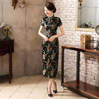 New Sexy Traditional Gorgeous Black Chinese Satin Long Dress Cheongsam Qipao D8