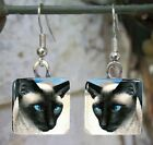 Glass earrings Handmade jewelry Siamese Cat from art painting L.Dumas