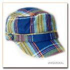NEW  *D&Y* STYLISH TARTAN PLAID MILITARY CADET HAT W/BUTTON - BLUE