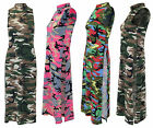 Womens Ladies Side Split Camouflage Army Sleeveless Midi Dress Top Look Tunic