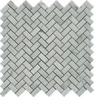 "White Carrara 5/8""x11/4"" Marble Mini Herringbone Mosaic($11.00 Per Sheet) Honed."