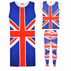 Kids Girls Union Jack Top Legging Midi Dress Children Fancy Costume New 7-13Year