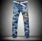 #448 Men's Retro Straight Scrawl Animal Leopard Printing Long Trousers Jeans