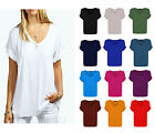 Womens Baggy Fit V Neck Turn Up Sleeve Top Loose Batwing Over sized T Shirt Top