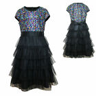 Girl Kid National Pageant Wedding Formal Party Black 4-16years Multi Layer Dress