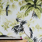 'birds On Palms' Palm Leaf Floral And Bird Design Wallpaper In White & Green