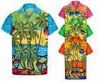 MENS HAWAIIAN SHIRT SUNGLASSES SHORT SLEEVE STAG BEACH HOLIDAY SUMMER FANCY DRES