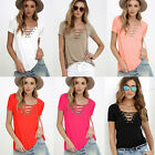 Fashion Womens Loose Pullover T Shirt Short Sleeve Cotton Tops Shirt Blouse Hot