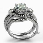 Round cut Halo Diamond Engagement Ring Wedding Bridal Set Sterling Silver 14k