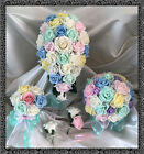 Wedding Flowers Ivory/Rainbow/Pastel colours Crystal Bouquet Bride/Bridesmaids