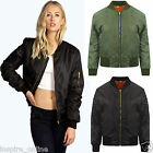 Women  Ladies MA1 Classic Casual Bomber Jacket Vintage Zip Up Biker Coat UK New