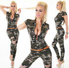 Sexy Women's Military Denim Jeans Playsuit Jumpsuit Overall Skinny Slim S 722