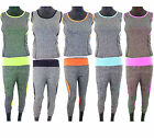Ladies Vest Top & Jogging 3/4 Legging Women Yoga Set Gym Fitness Sportswear New