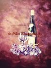 Old World Style Wine & Grapes Still Life Signed Matted Picture Kitchen Art A378
