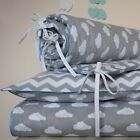 100%COTTON Cot Bed Duvet Cover Set Boys Grey CHEVRON ZIGZAG CLOUDS BLUE   pipin