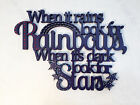 When It Rains Look Rainbows, Wooden Word Art Pictures, Quotes, Sayings,