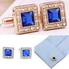 Blue Crystal Silver/Gold Plated Square Wedding Party shirt cufflinks cuff links