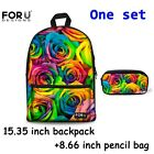 Fashion Floral Canvas Backpack+Prncil Case Set For Junior School Girls Bookbag