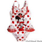Disney Store Minnie Mouse Bow Deluxe Ruffled One Piece Swimsuit Sz 4 5 6 NWT
