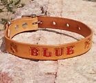 "TAN 3/4"" Stained Personalized Pet Name & Paw Prints, Leather Dog Collar"